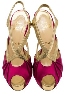Christian Louboutin Gold & Fuchsia Sandals