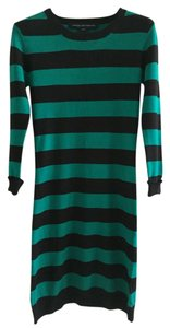 French Connection short dress Green/Black Sweater Fitted Striped on Tradesy