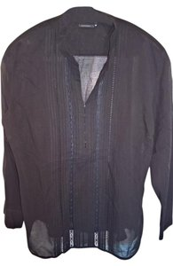 Elie Tahari Sheer Cotton Lace Tahari Vintage Top Black