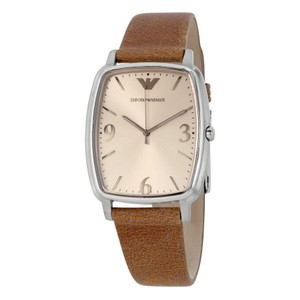 Emporio Armani NWT Men's Emporio Armani Leather Strap Watch Brown/ Silver AR2489
