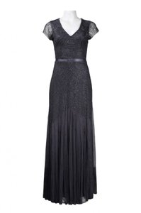Adrianna Papell Beading Embellished Cap Sleeve Silver Gown Dress