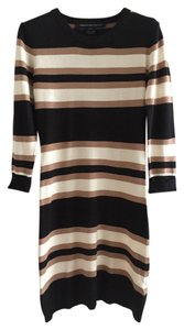 French Connection short dress Black/Camel/White Sweater Fitted Striped on Tradesy