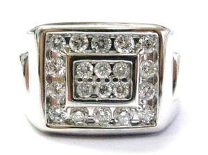 Other Fine Men's Round Cut Diamond Block Bling White Gold Jewelry Ring 1.16C