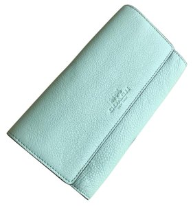 Coach Coach F53708 Pebbled Leather Trifold ID Wallet Seaglass $250