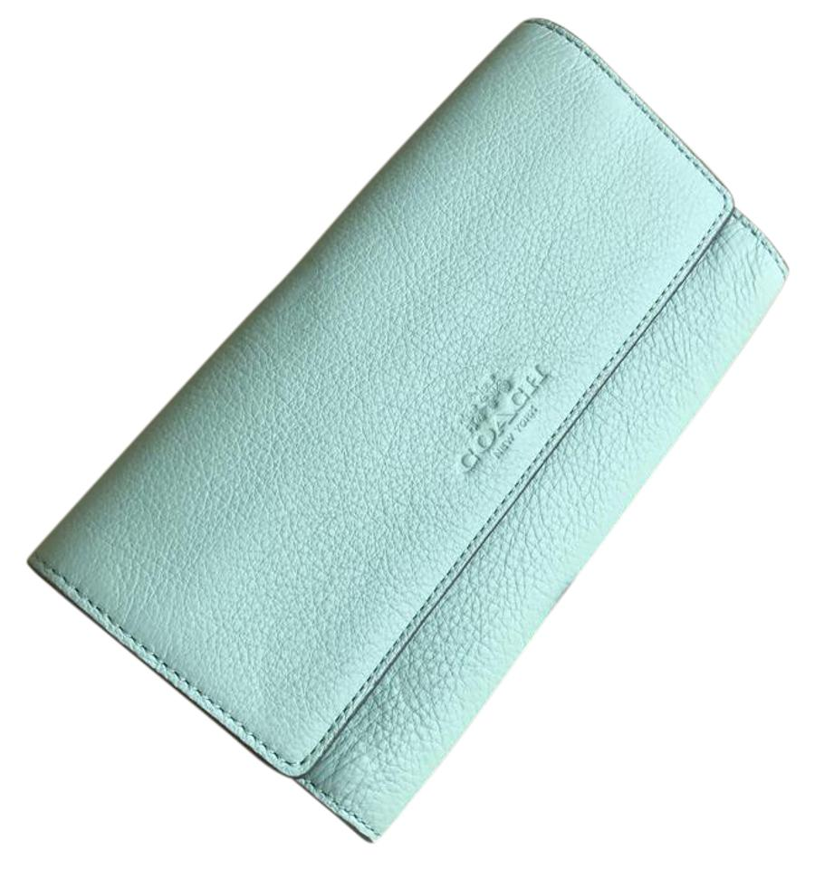 the latest 17d7f d5819 Coach Seaglass F53708 Pebbled Leather Trifold Id Wallet 47% off retail
