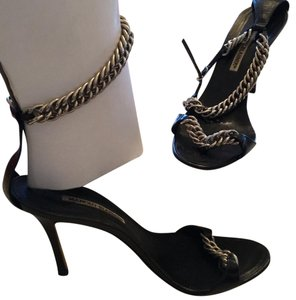 Manolo Blahnik black with silver chains Pumps
