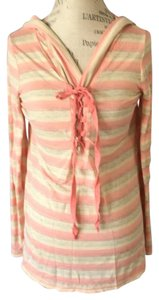 Pink Lotus Lace Up Tie Front Hoody Hoodie Summer Tunic