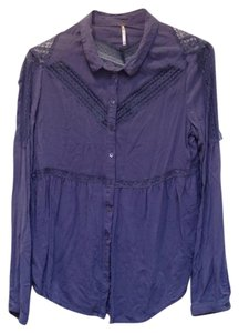 Free People Longsleeve Lace Trim Button Down Rayon Top blue gray