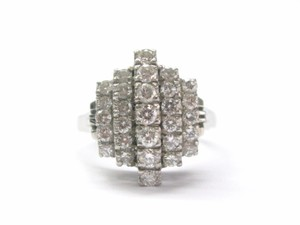 Other Platinum VINTAGE 5-Row Diamond Jewelry Ring 1.03CT