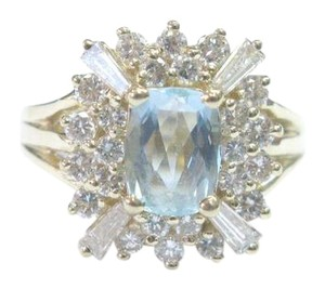 Other Fine Gem Aquamarine Diamond Yellow Gold Jewelry Ring 14KT 2.05Ct