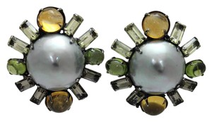iRADJ Moini NEW SIGNED IRADJ MOINI FAUX GREY CITRINE PEARL EARRINGS