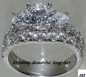 Sterling Silver .925 - 3 Stone Engagement-bridal Set * Size 7 * New *