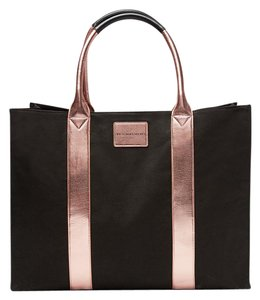 Victoria's Secret Limited Edition Getaway Large Metallic Striped Tote in Black