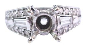 A jaffe 18Kt A Jaffe Round & Baguette Diamond White Gold Mounting .80Ct