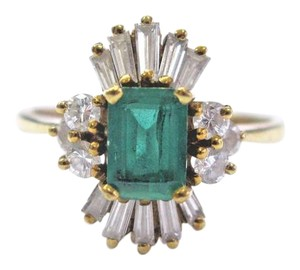 Other 18Kt Gem Colombian Green Emerald Multi Shape Diamond Yellow Gold Ring