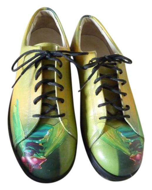 Item - Multi-colored;green Yellow Fuscia Black Turquoise White Graphic Art Dyed Leather Sneakers Size US 9 Regular (M, B)