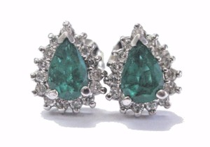 Other Fine Colombian Green Emerald Diamond White Gold Stud Earrings 14Kt 2.5