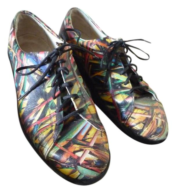 Item - Multi-colored;green Yellow Red Black Blue White Graphic Art Dyed Leather Sneakers Size US 9 Regular (M, B)