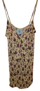 H.I.P. Strappy Floral Ruffle Bohemian Summer Top Beige