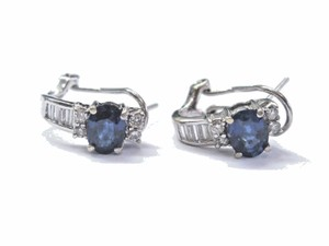 Other 18Kt Gem Ceylon Sapphire Diamond White Gold Huggie Earrings 1/2