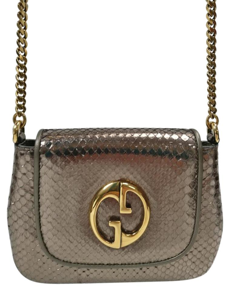 c5a775ea6ccb Top Gucci 1973 Python Small Metallic Pewter Leather Cross Body Bag EZ12