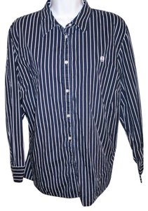 Chaps Ralph Lauren Lauren Stripe 2x Top Navy and White