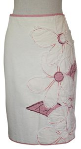 Elevenses Skirt Cream Canvas with Red and Black Accents