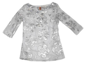 Tory Burch White Fine Cotton Floral Design Fitted Size 2 Tunic