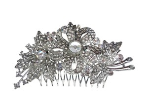 Unik Occasions Silver Rhinestone Crystal Flower And Leaves Hair Piece