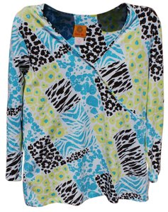 Ruby Rd Animal Print Floral Stretchy Bright Bold Top Multi Colored
