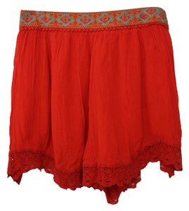 Free People Moroccan Embroidered High Waisted Pleated Lace Shorts Red
