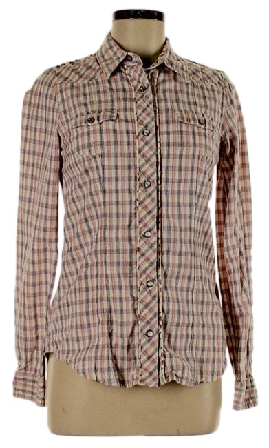 Item - White Purple and Pink Ws204 Button-down Top Size 8 (M)