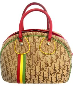 Dior Satchel in Brown Tan Red Green Yellow Multi