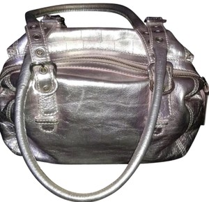 Francesco Biasia Satchel in Silver with pinkish blending variation. Zoom out photos for details.