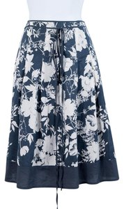 Lapis Floral Pleated Spring Summer Skirt Blue/Cream