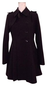 Via Spiga Wool Faux Leather Pleated Print Lining Coat