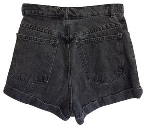American Apparel Cuffed Shorts black denim
