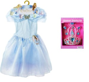 Disney Cinderella Ella's Blue Dress Size 4-6x & Free Jewerly Set