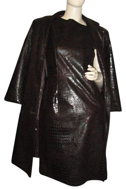 Item - Faux Snakeskin Brown Dress+jacket Embossed 2pc Luxury Material Mid-length Cocktail Dress Size 6 (S)
