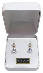 Other New Solid 10K Gold 6x4 Lab Aquamarine Dangle Stud 10KT Gold Earrings