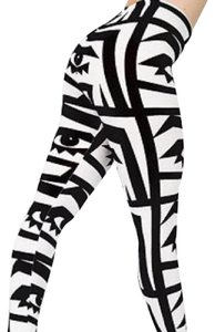 American Apparel Leggings Graphic Kesh Skinny Pants Black White