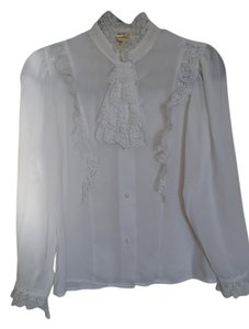 Byer California Vintage Lace Trim Mother Of Pearl Buttons Sheer Button Down Shirt white