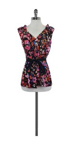 Tracy Reese Multi Color Floral Print Silk Top