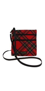 Dooney & Bourke Red Tartan Fabric Cross Body Bag