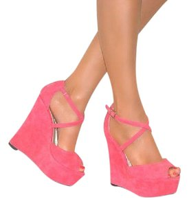 Jessica Simpson Suede Pink Strappy Peep Toe Coral Wedges