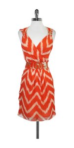 MILLY short dress Orange White Print Silk Sleeveless on Tradesy