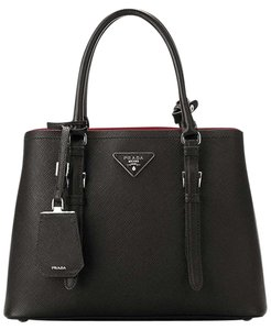 Prada Double Saffiano Cuir Satchel Tote in BLACK / RED