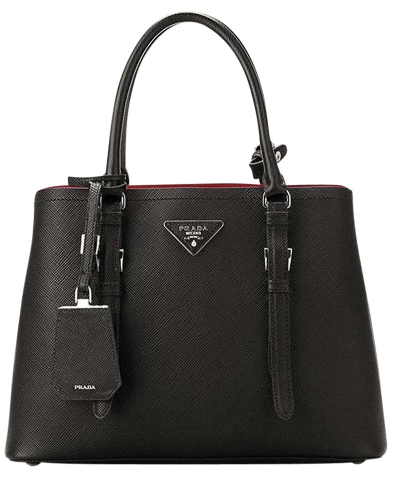 2eee76cdfaa0 Prada Double Cuir Md Convertible 1bg838 Black/Red Black / Red Saffiano  Leather Tote