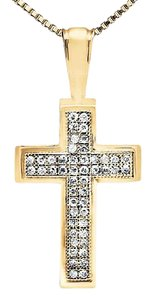 Other 2 Rows Pave Diamond Beaded Edge Cross Charm Pendant 1