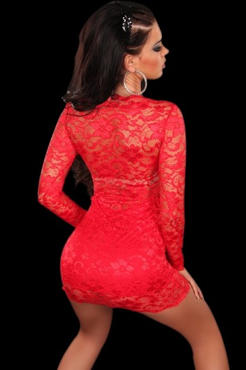 well-wreapped Red Free Shipping New's Enticing Lacy Mini Dress, Lined, With Sheer Long Sleeves And Back, Scoop Neckline 2265-2 Dress 60% Off #2109482 - Casual Dresses (Short)